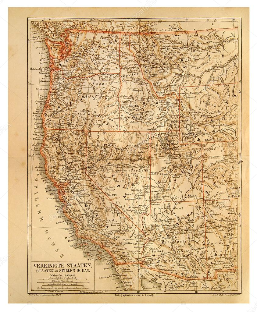 Old Map Of United States Of America And Pacific Ocean Stock Photo - Pacific-ocean-us-map