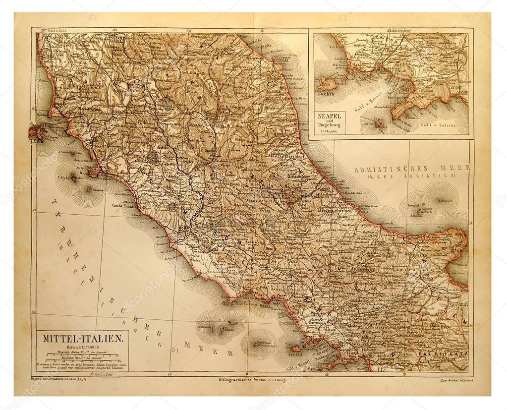 Gammal Karta Italien.Gammal Karta Over Centrala Italien Stockfotografi C V Nikitenko