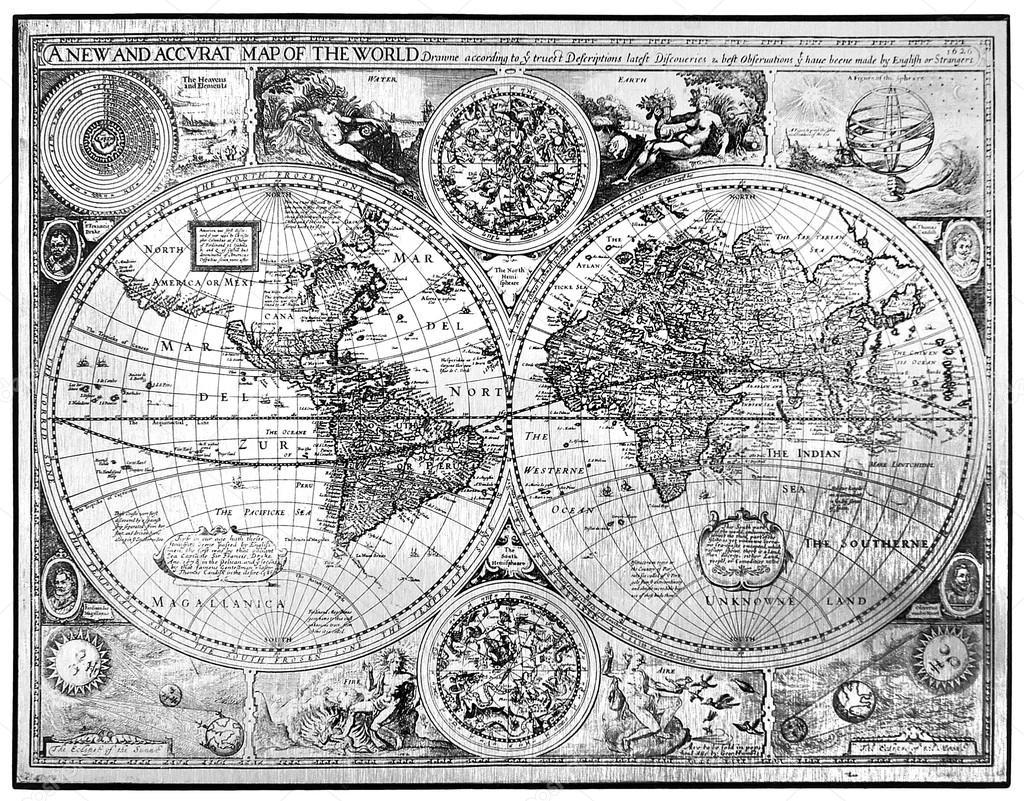 Mappa di bianco e nero del mondo antico foto stock v for Mappa mondo bianco e nero