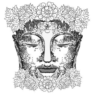 "Картина, постер, плакат, фотообои ""статуя будды с цветами на голове"", артикул 477667096"