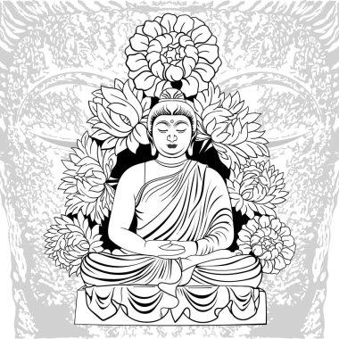 "Картина, постер, плакат, фотообои ""будда в медитации вокруг цветов"", артикул 477667128"