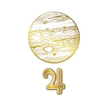 Planet Jupiter, golden linear hand drawing. Vintage boho symbol for astrology, zodiac signs, divination, natal chart. Astrological vector illustration