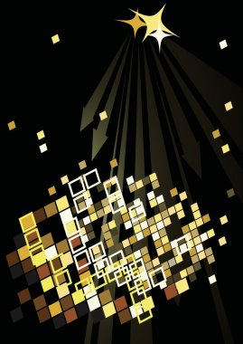 Dance party poster with abstract lights
