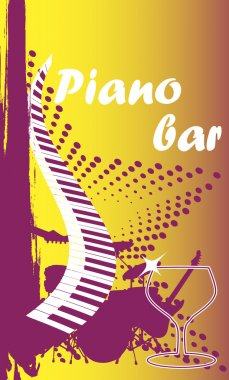 Piano bar.Vertical banner.