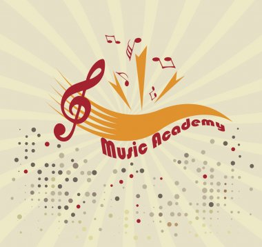 Music academy.Abstract staff and notes