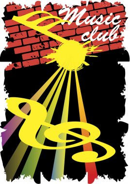 Abstract staff.Music club poster.Retro wall.