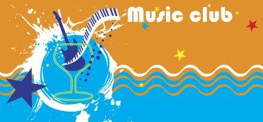 Music club banner.Abstract see motive.Piano bar