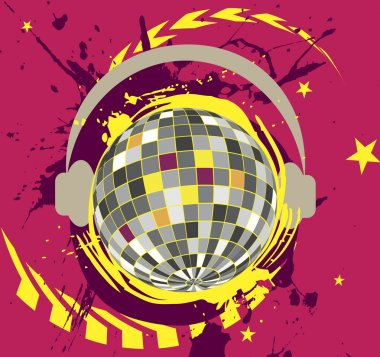 Disco ball with headset.Colorful splash