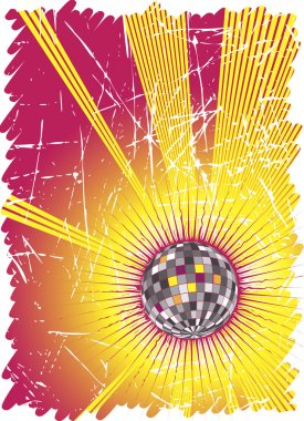 Powerful music rays.Dance party poster