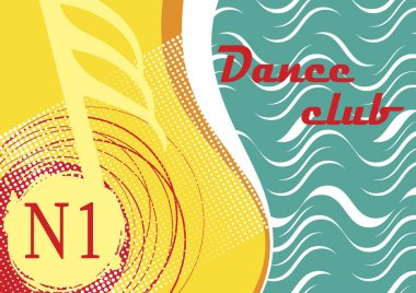 Horizontal dance club banner with sea motive