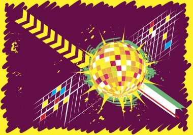 Abstract horizontal dance club banner with disco ball