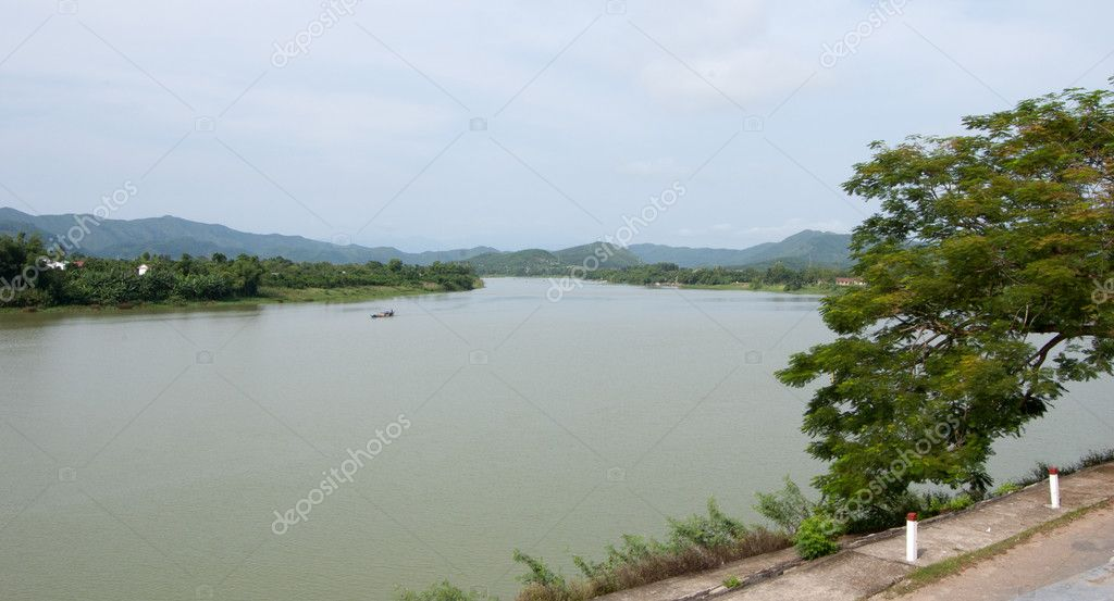 View of Huong river in Hue, Vietnam