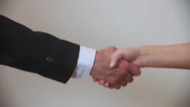 Podnikatelka a podnikatel si potřásají rukama