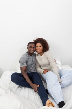 black couple  in the bed