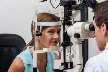 Ophthalmologist doing studies