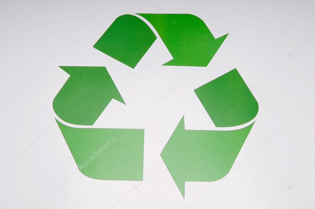 recycling symbol on white background