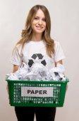 Fényképek Nő újrafeldolgozás papír