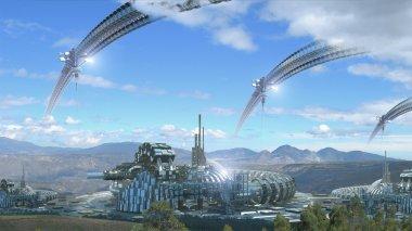 Sci-fi architecture composite with scenic landscapes