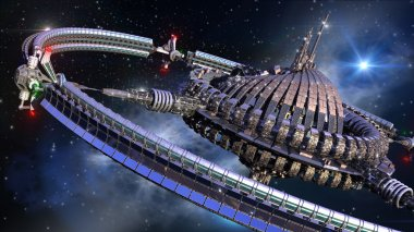 Alien spaceship, with central dome and gravitation wheel