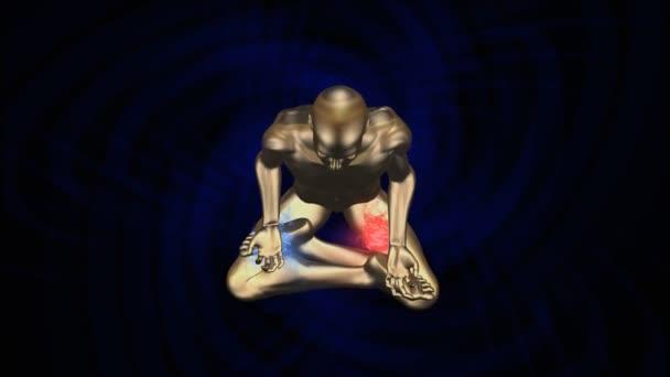 Silueta muže v osvícené Kundalini jóga meditace