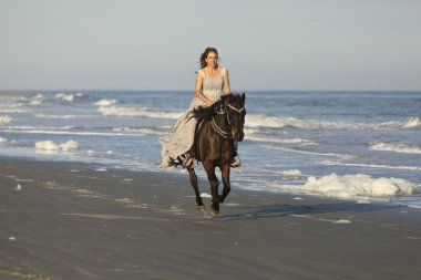 woman in formal dress riding horse on beach