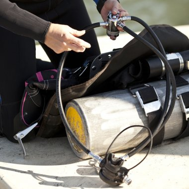 preparing scuba gear for use