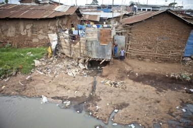 children and filthy water, Kibera Kenya