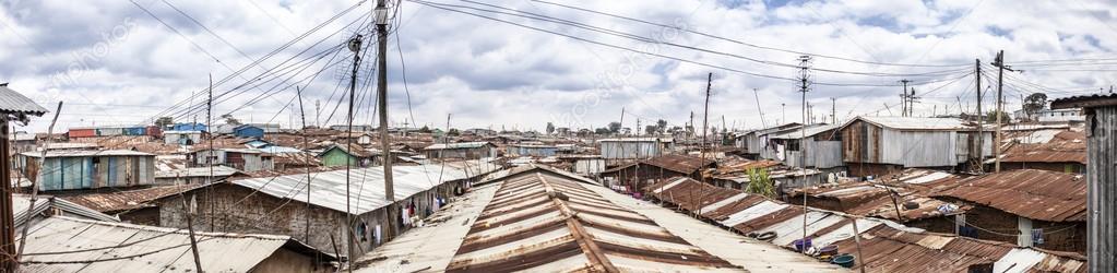 180 degree panorama of Kibera, Kenya — Stock Photo