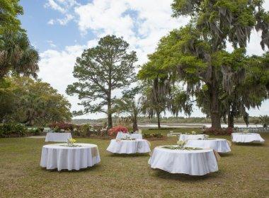 setup for outdoor wedding reception