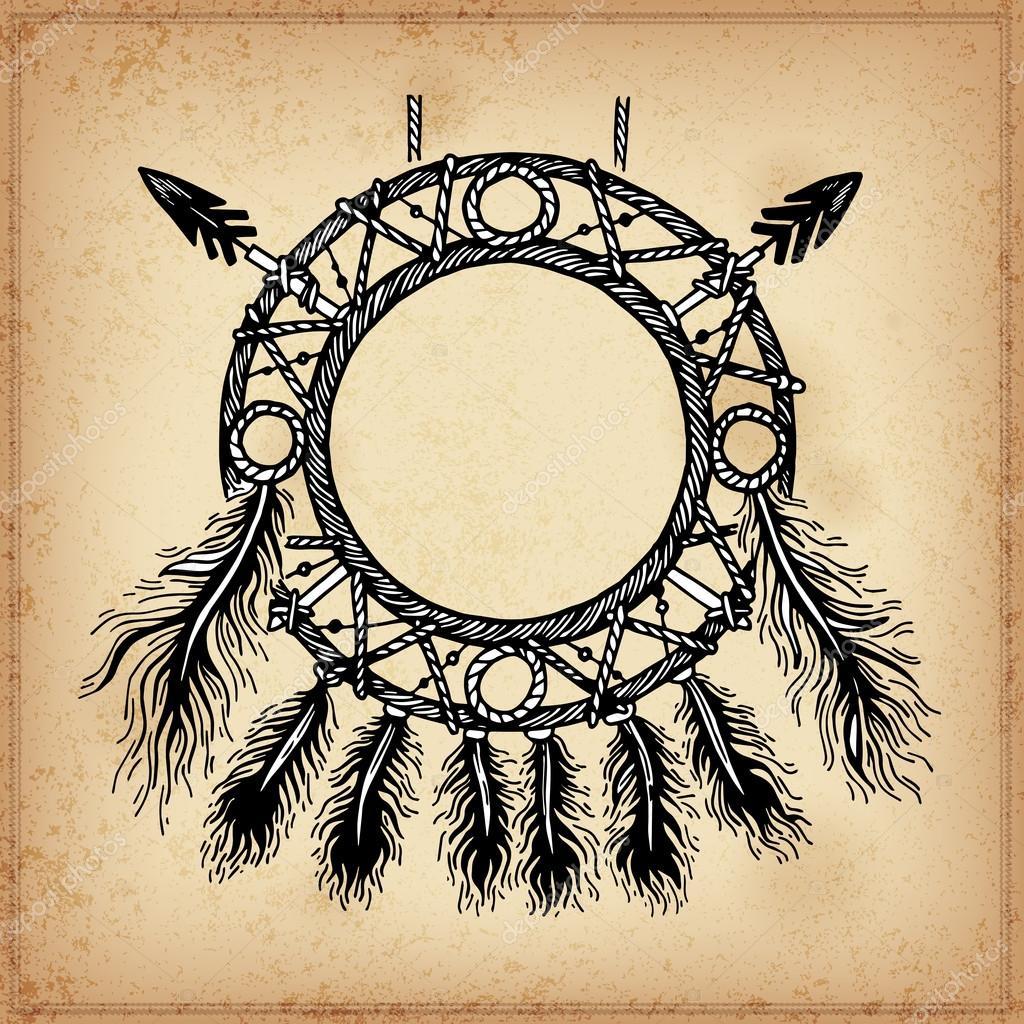 Insieme di disegno del cerchio dell 39 inchiostro mano per l for Acchiappasogni disegno