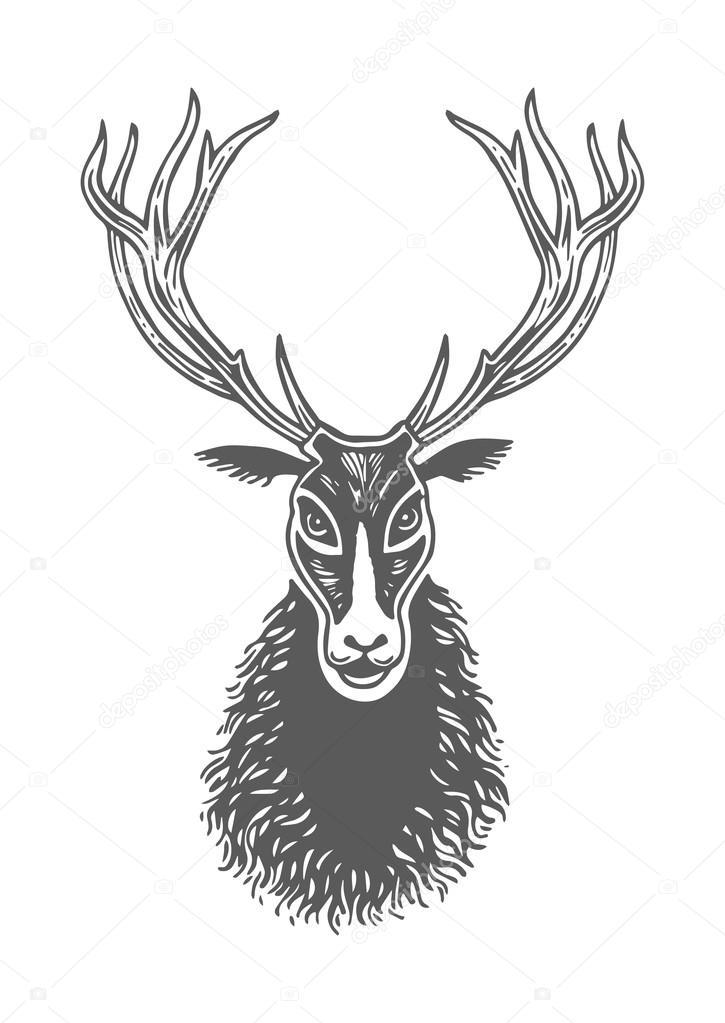 Dessin Visage Noir Et Blanc dessin visage de d'encre cerf noir et blanc, patte, empreinte d'une