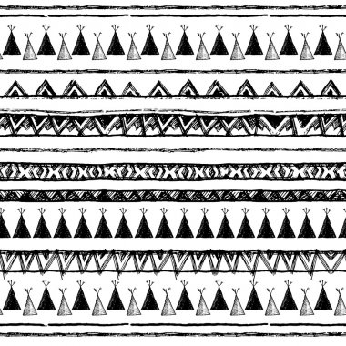 Ethnic seamless pattern in native style. Tribal vector seamless pattern with native American Indian symbols. Boarder wigwam pattern. Hand-drawn indian background vector. Native american tent pattern