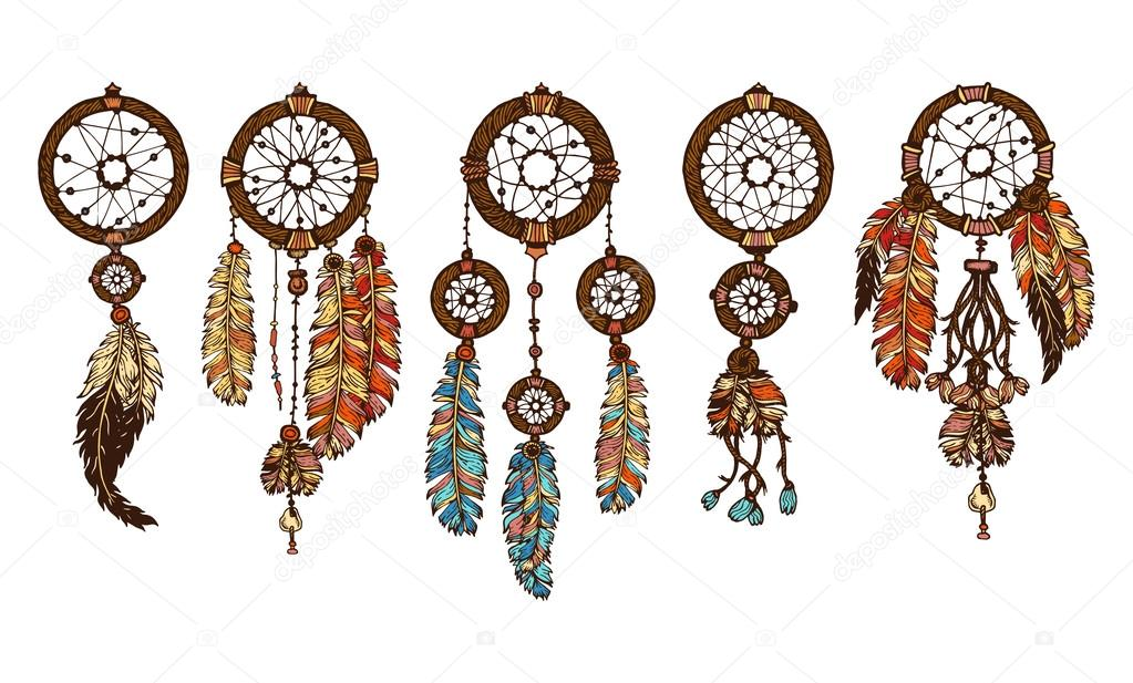 Set Of 5 Colored Dreamcatchers Hand Drawn With Ink Dream Catcher