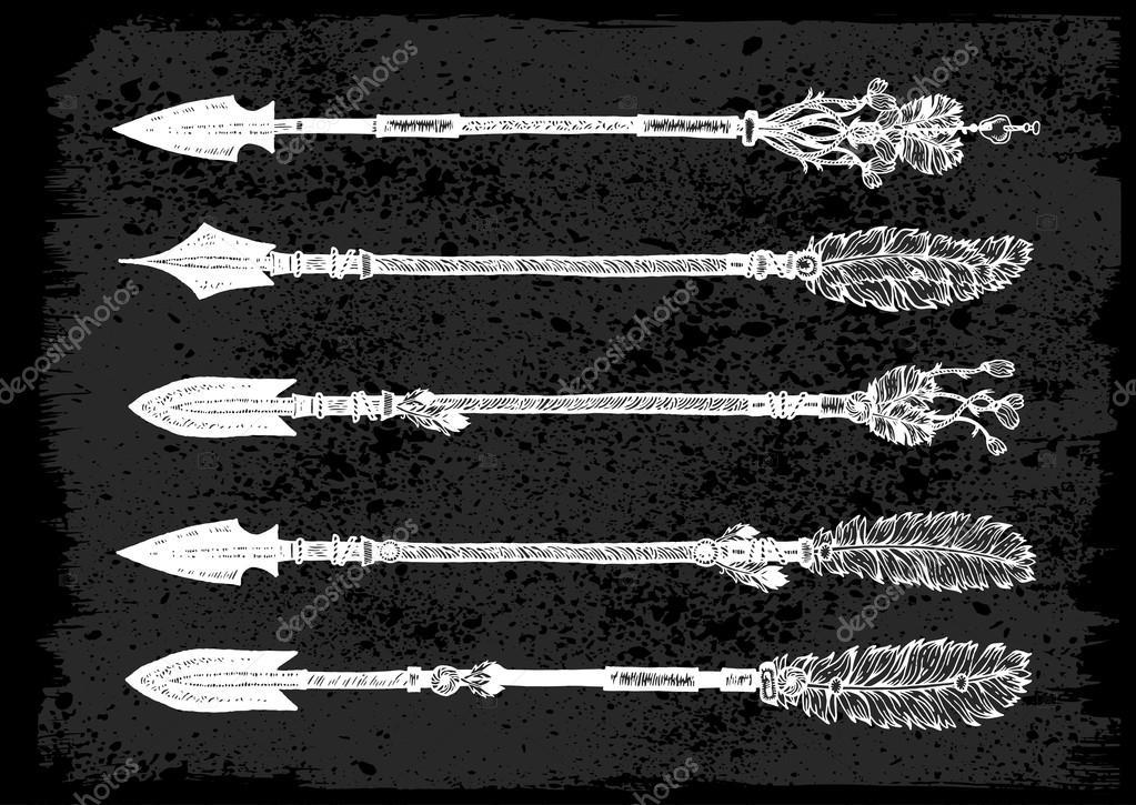 Fleche Indienne Ethnique Griffonnages Noir Blanc Vector