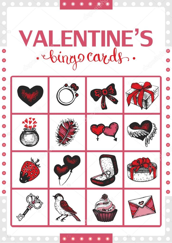Valentines vintage bingo card for game. Card 2.