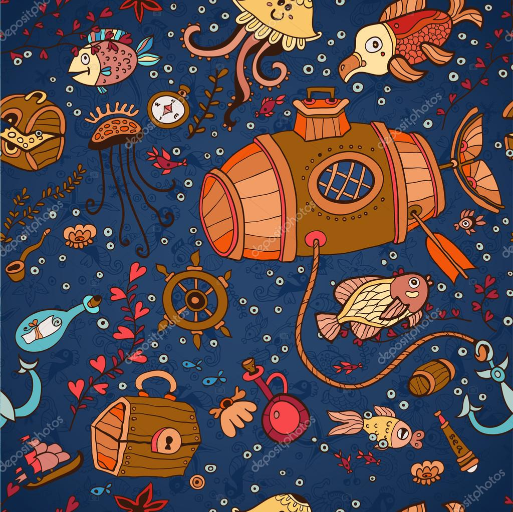 underwater seamless pattern of elements on the tropic sea life