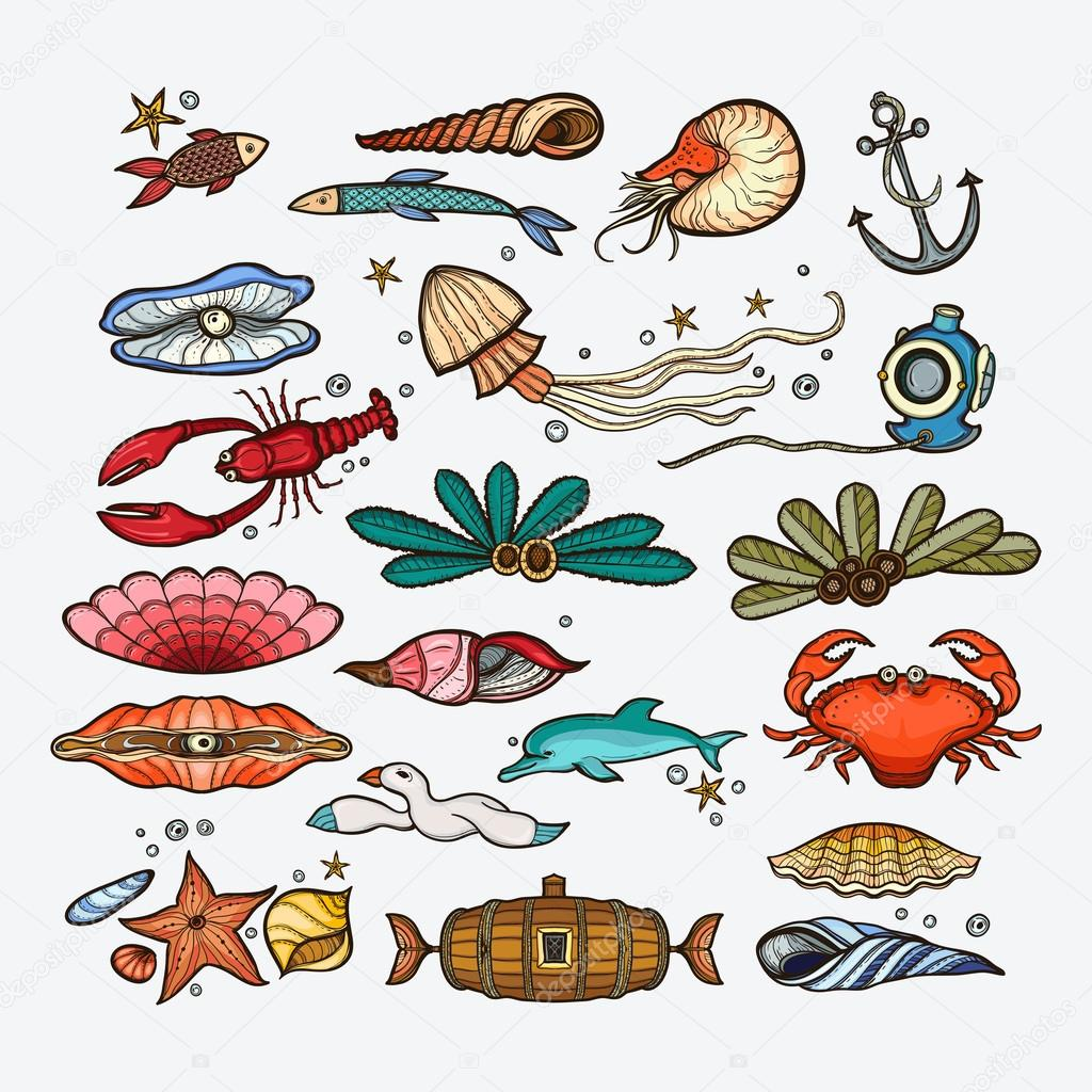vintage sea animals set collection hand drawn collection of