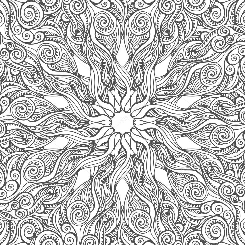 Scheda Di Vettore Di Mandala Su Priorità Bassa Bianca Disegno Di