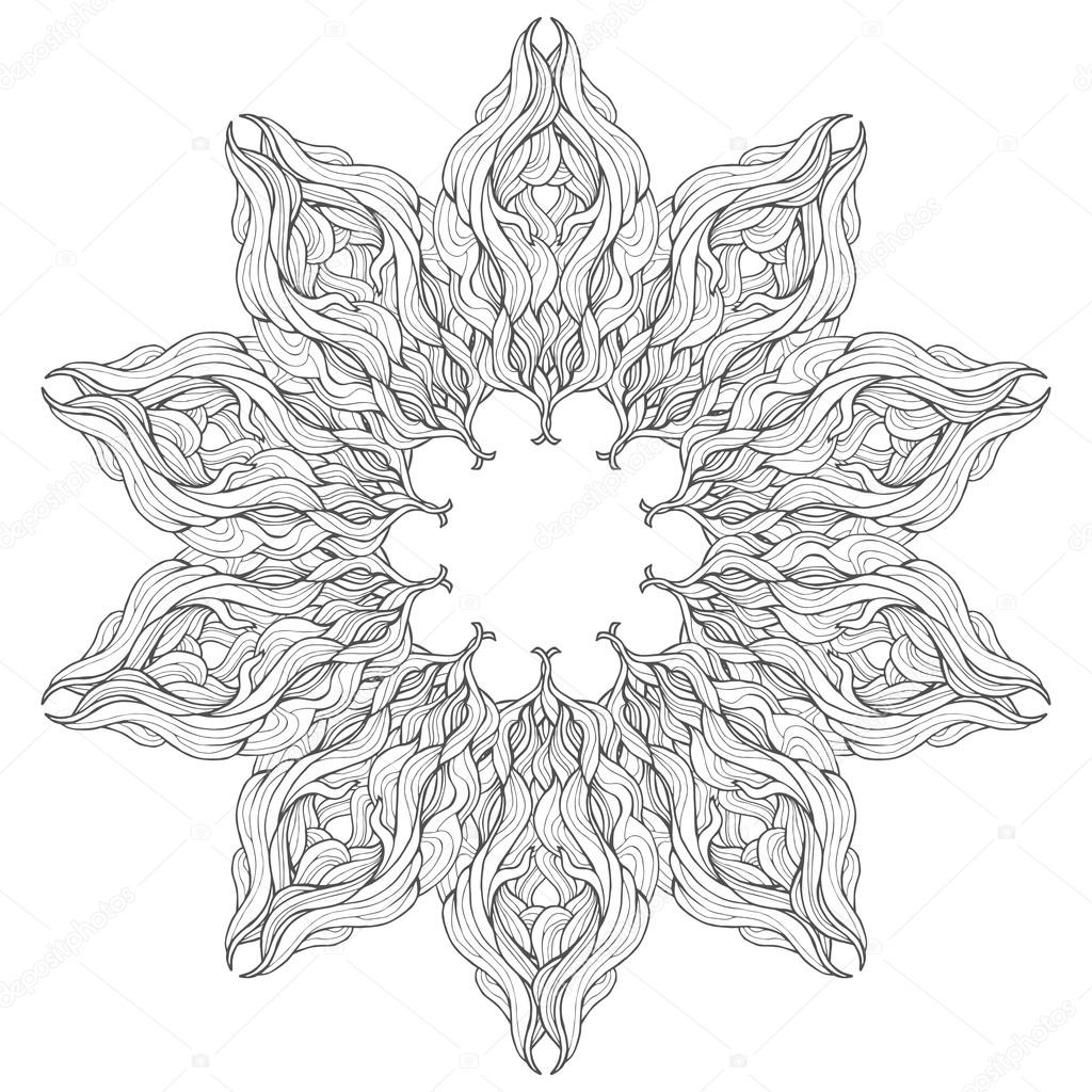 Mandala-Vektor-Karte auf weißem Hintergrund. Buchgestaltung Seite ...