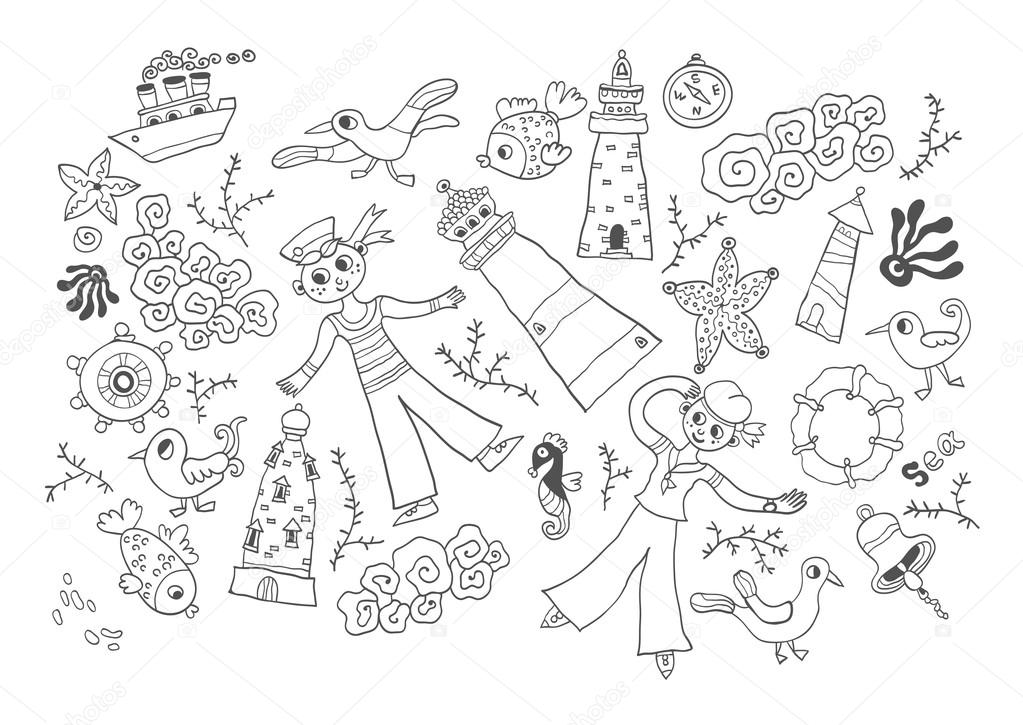 Dibujos: fondos marinos para colorear | Tarjeta de marino vector ...
