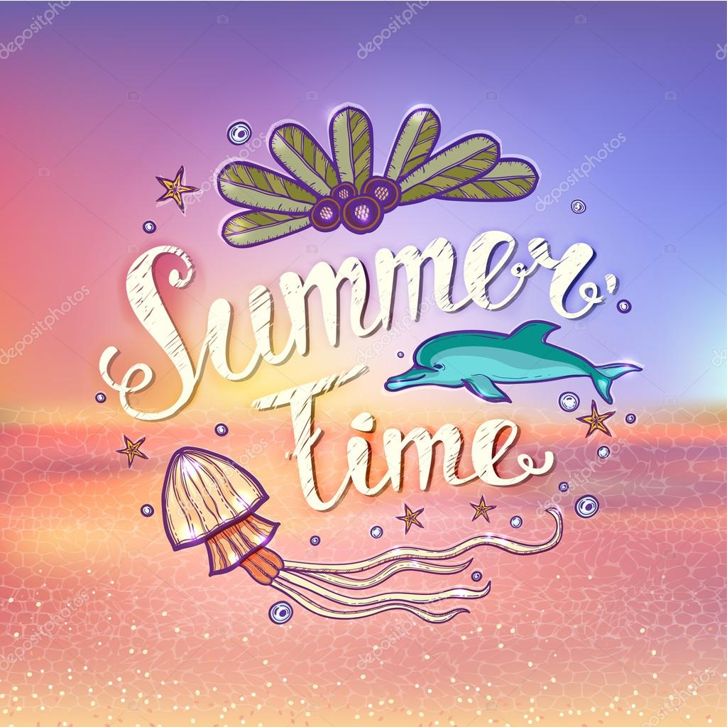 Beach Theme Card Stock: Set Of Summer Elements: Blurred Beach Landscape, Text