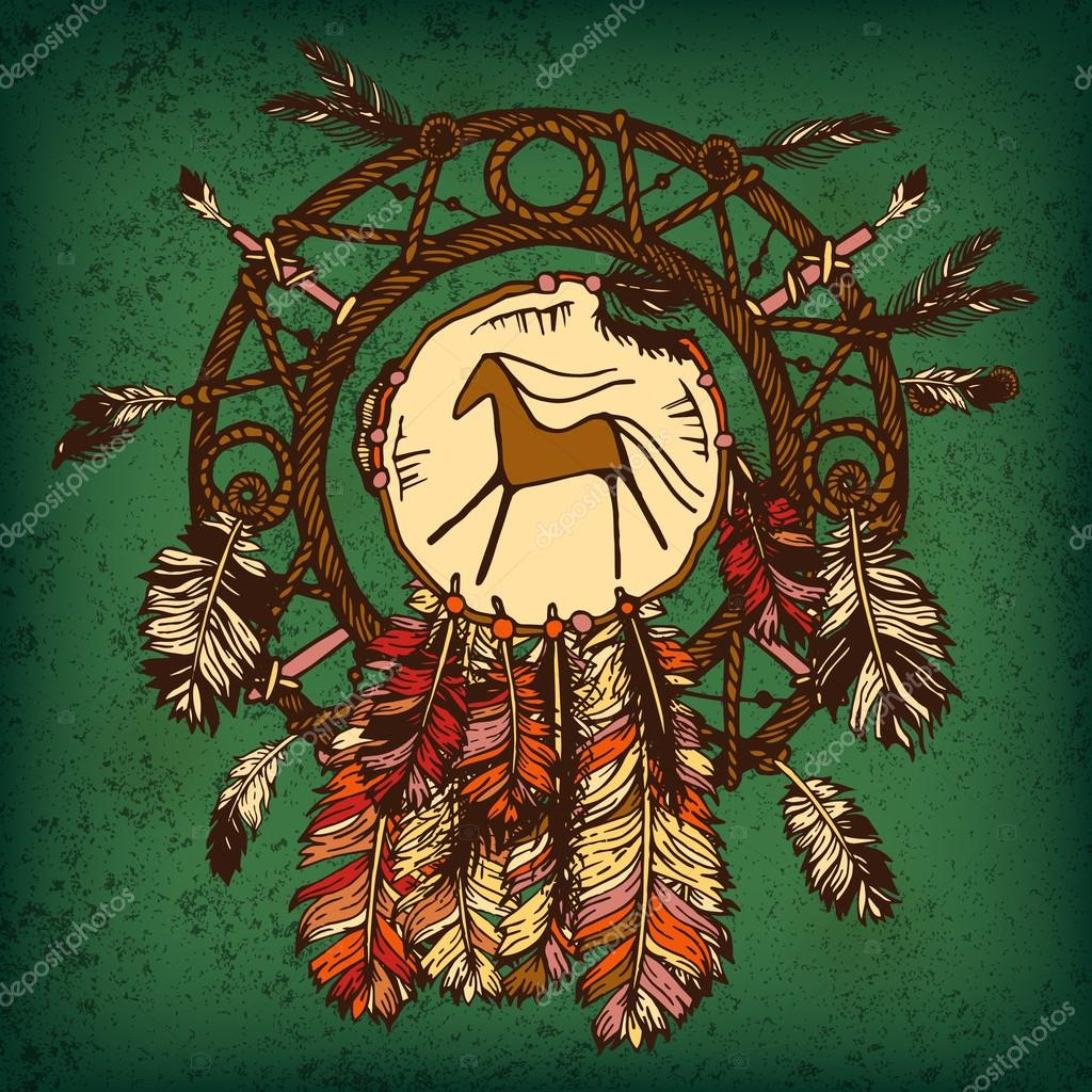 Native american indian dream catcher traditional symbol bright native american indian dream catcher traditional symbol bright card card with colored feathers and beads on green background vector by pictulandra biocorpaavc