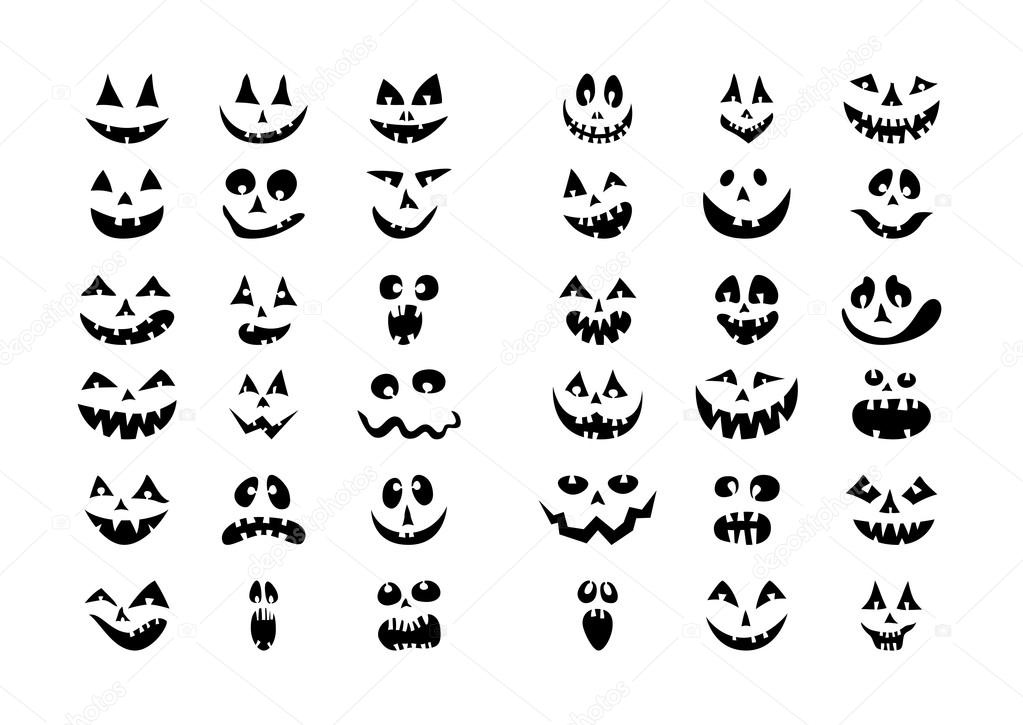 Scary Halloween 36 pumpkin faces icons set  — Stock Vector