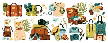 Travel stuff. Set of various luggage bags, suitcases, cosmetics, clothes. Vacation, holiday. Collection of items for vacation or journey decorated by tropical leaves, shells and flowers isolated. icon