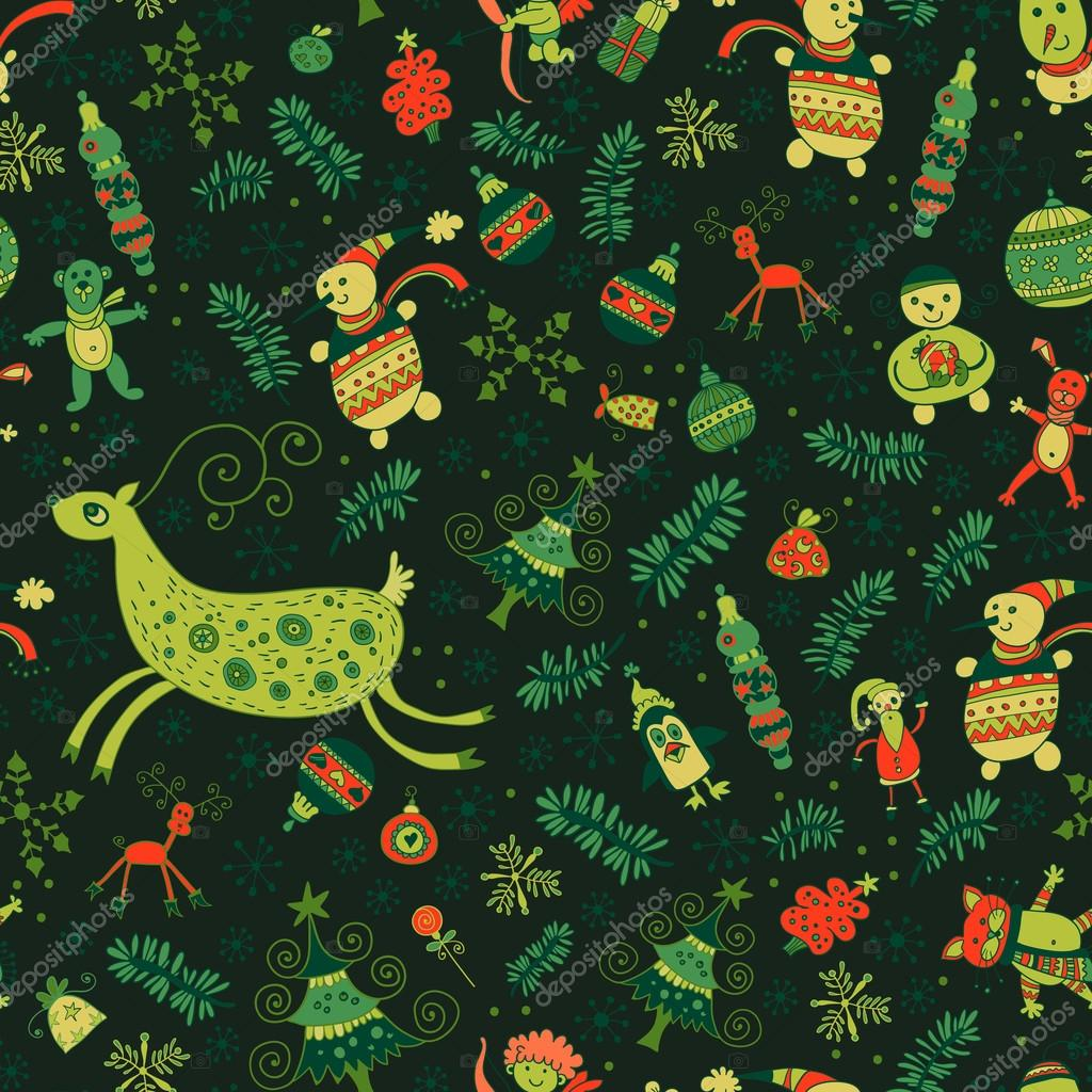 Seamless pattern of bright Christmas items.