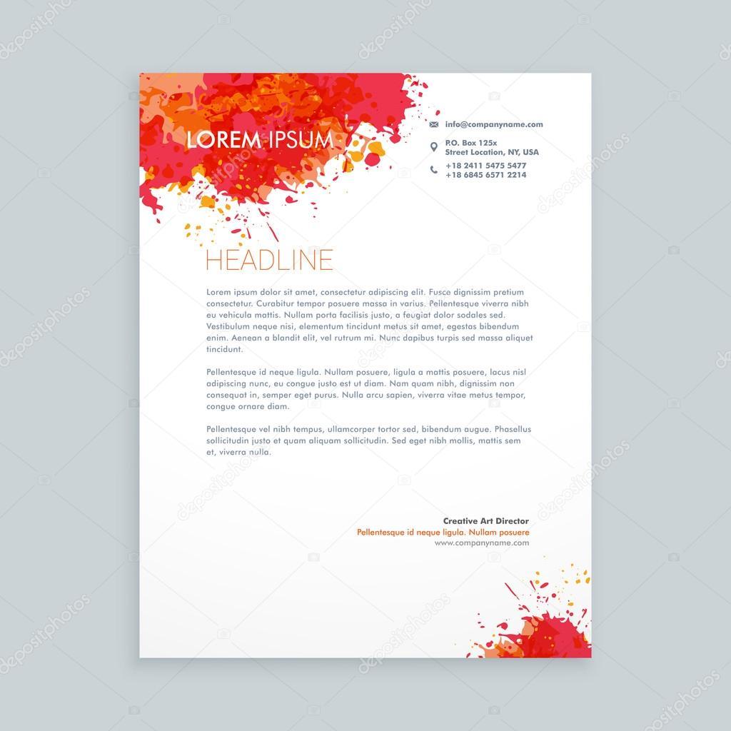 Tinte Platsch Briefkopf Gestaltung Stockvektor Starline 106830644