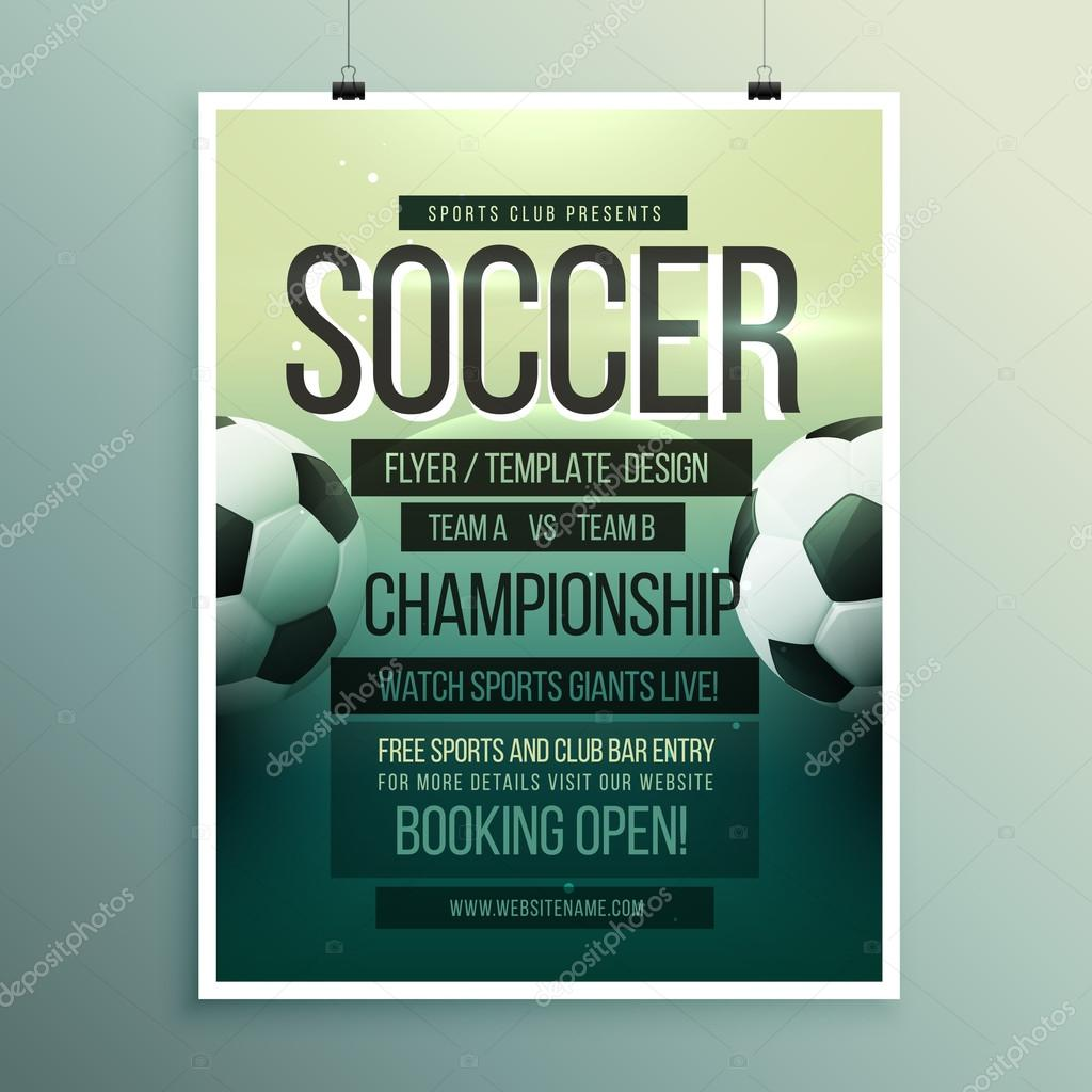 Fußball Turnier Meisterschaft Spiel Flyer Broschüre Vorlage ...
