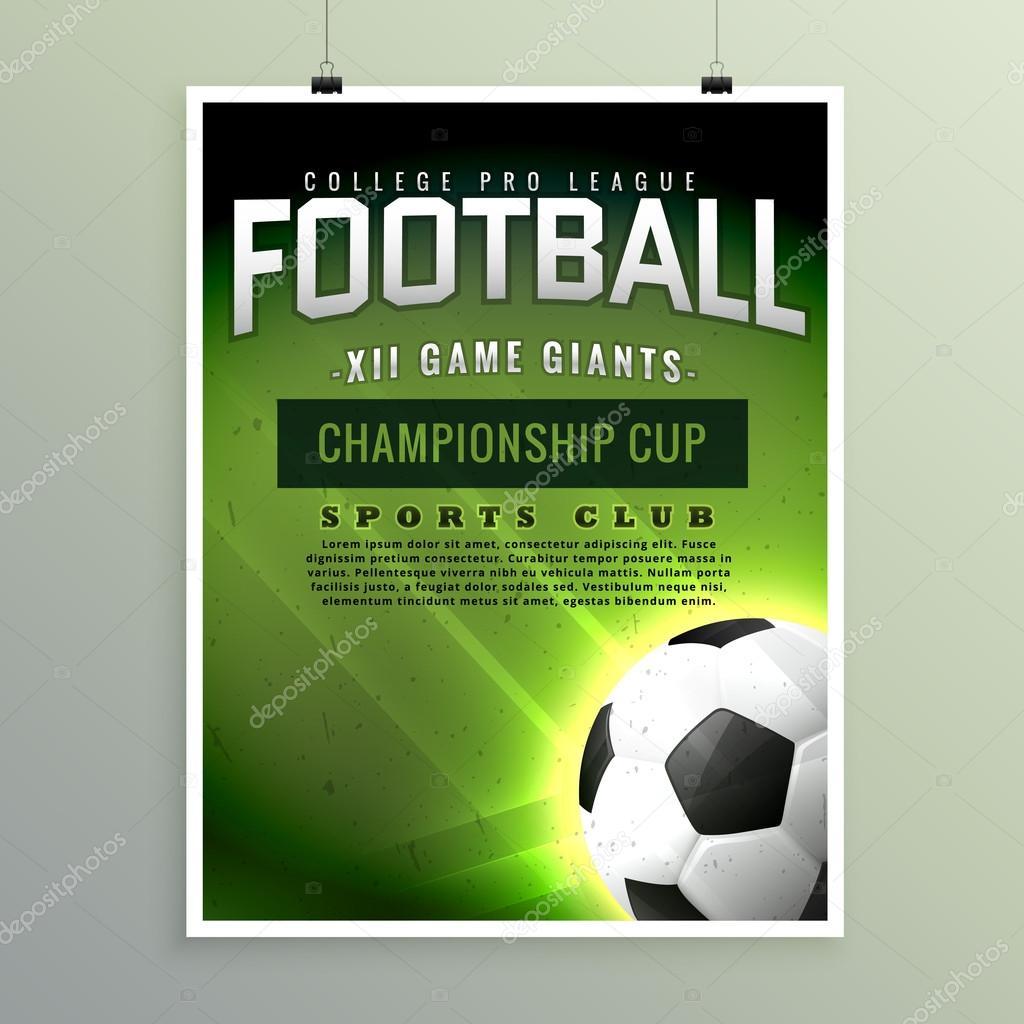 Fußball Sport Meisterschaft Spiel Flyer Vorlage — Stockvektor ...