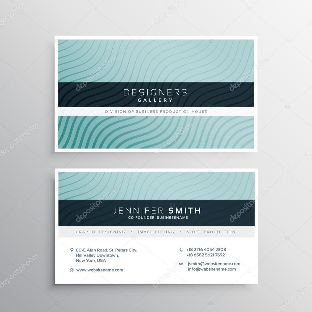 business card template with wavy lines patterns — Stock Vector ...