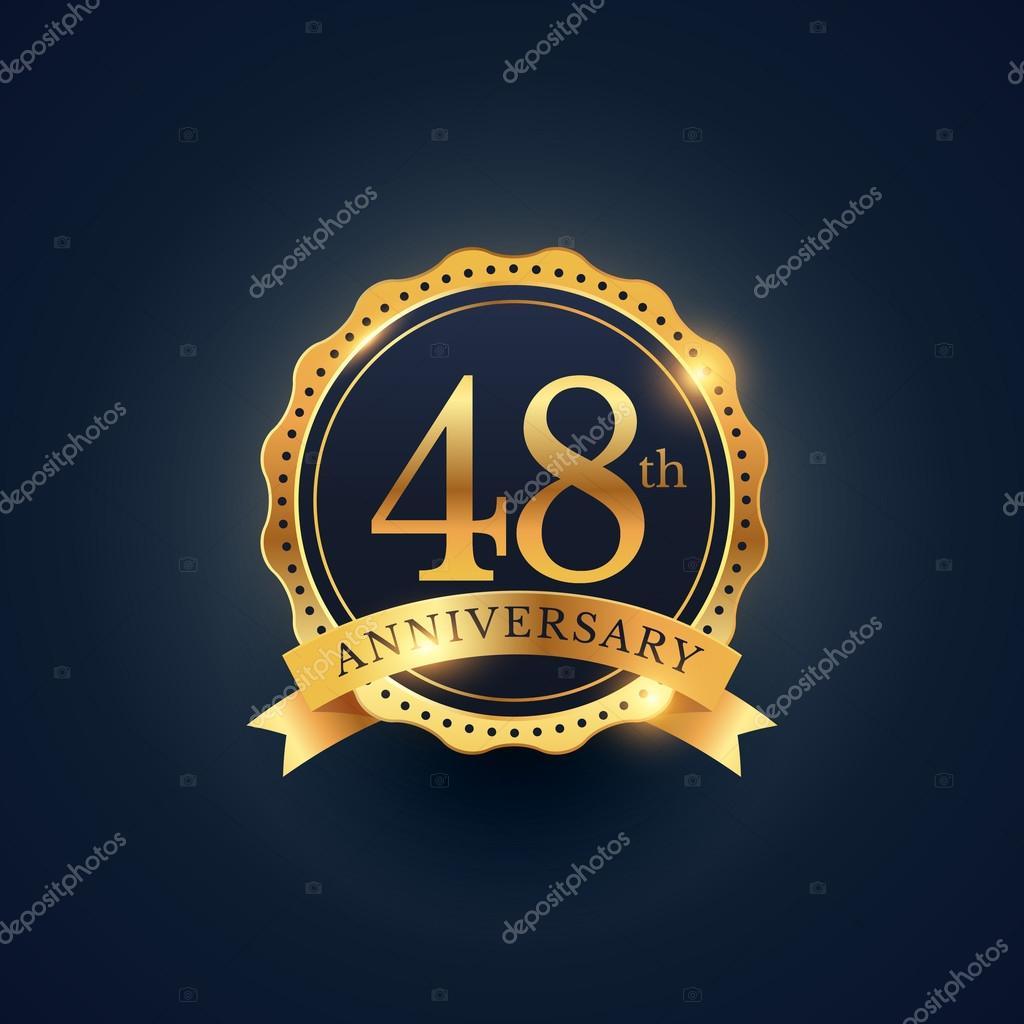 48e Verjaardag Viering Badge Label In Gouden Kleur Stockvector